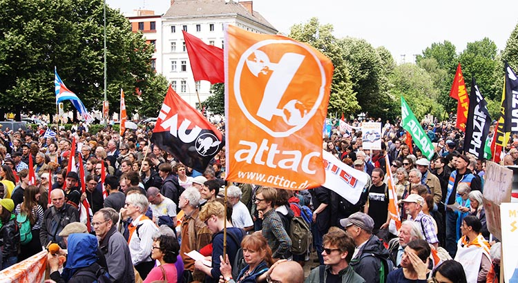 Attac Banner at a Demonstration in June 2015 in Berlin, Germany
