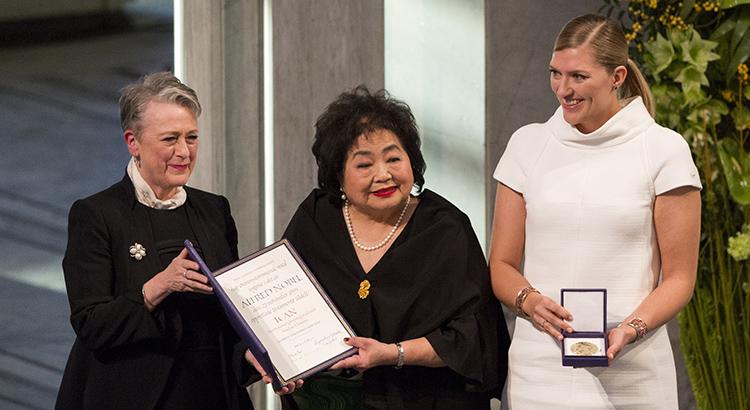 Berit Reiss-Andersen, Setsuko Thurlow und Beatrice Fihn bei der Verleihung des Friedensnobelpreis 2017