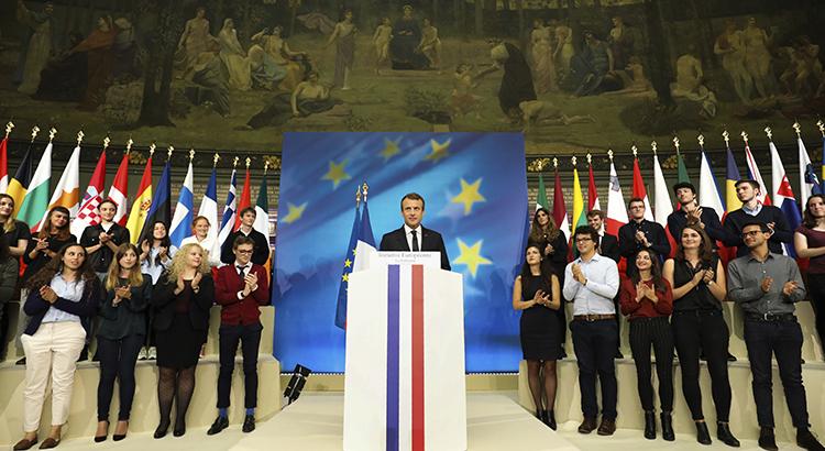 Emmanuel Macron während seiner viel beachteten Rede zur EU an der Sorbonne Universität in Paris im September 2017