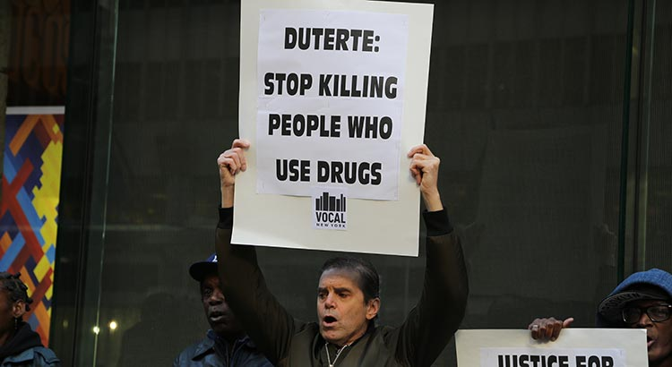 Philippines Drug War Protest, New York City, in 2016