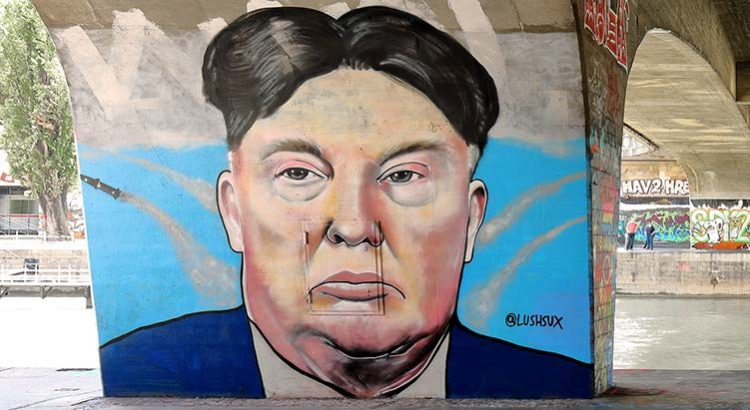 Donald-Trump- und Kim-Jong-un-Graffiti von Lush Sux, Wien