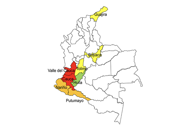 Indigenous mobilization in the Minga in Colombia by departments as of 6th April 2019