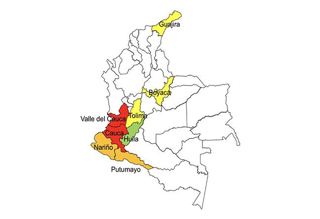 Mapa.1. Movilización indígena de la Minga Colombiana por departamentos (hasta el 6 de Abril, 2019). En Rojo= Minga inicial el 10 de Marzo