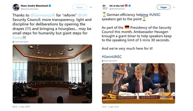 """Kanadas UN-Botschafter (links) und Großbritanniens UN-Delegation (rechts) gratulieren Deutschland auf Twitter zu den """"Reformen"""" im Sicherheitsrat"""