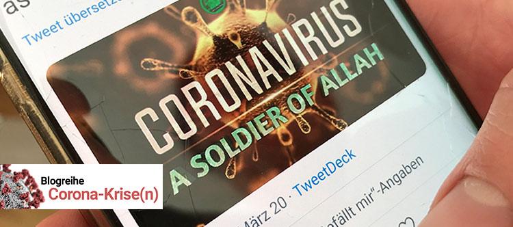"""Das Foto zeigt die Webseite """"Coronavirus - a soldier from Allah"""" auf einem Smartphone."""