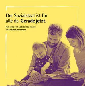 Kampagne des Bundesministeriums für Arbeit und Soziales. Die Grafik zeigt Eltern mit Kind.