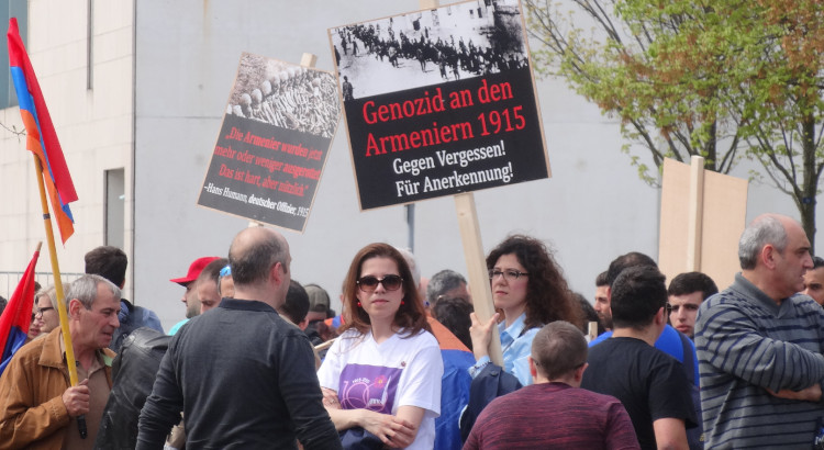 People in Berlin, Germany, demonstrate for recognition of the Armenian Genocide.