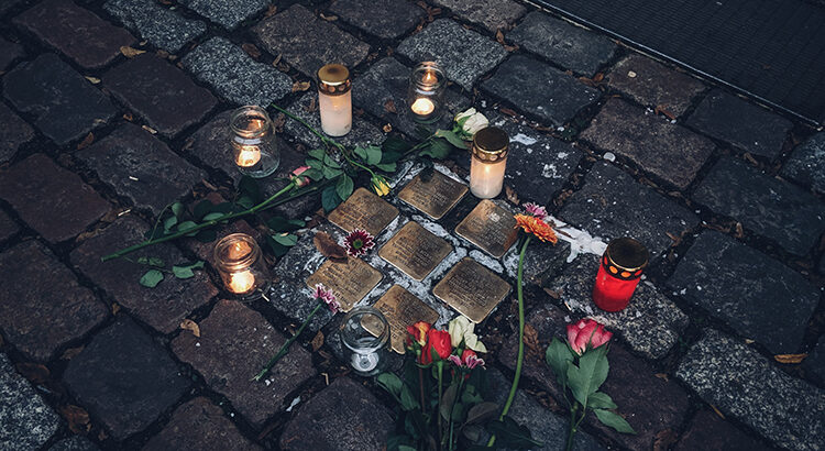 "Stolpersteine (""'Stumbling stones"") in Berlin remembering victims of the Holocaust"