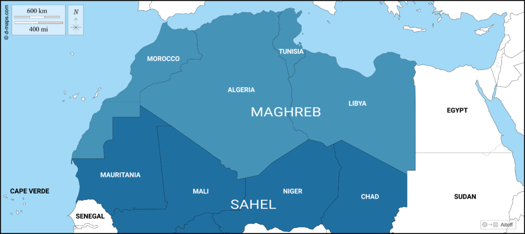 Map of North Africa depicting the Maghreb and Sahel member states